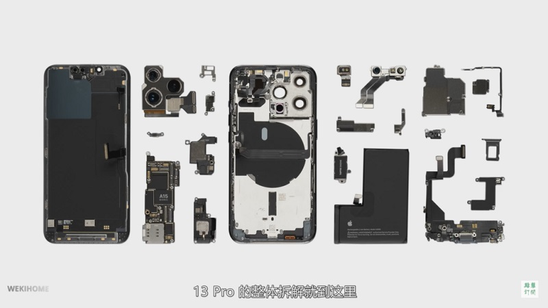 iPhone 13 Pro disassembled, featuring 3095 mAh battery and Samsung-made RAM